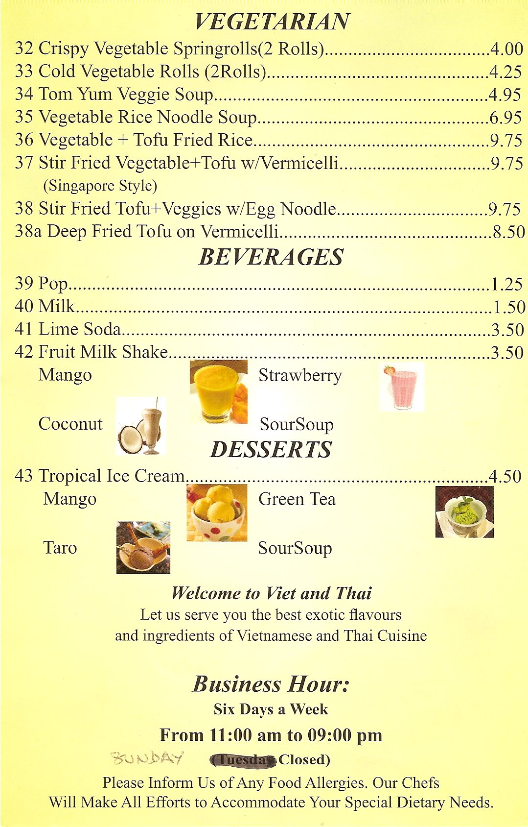 Viet Thai Menu